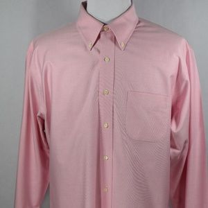 Brooks Brothers Men's Solid Pink LSS XL